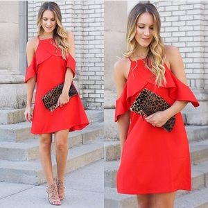 NWT Chicwish Red Ruffle Dress